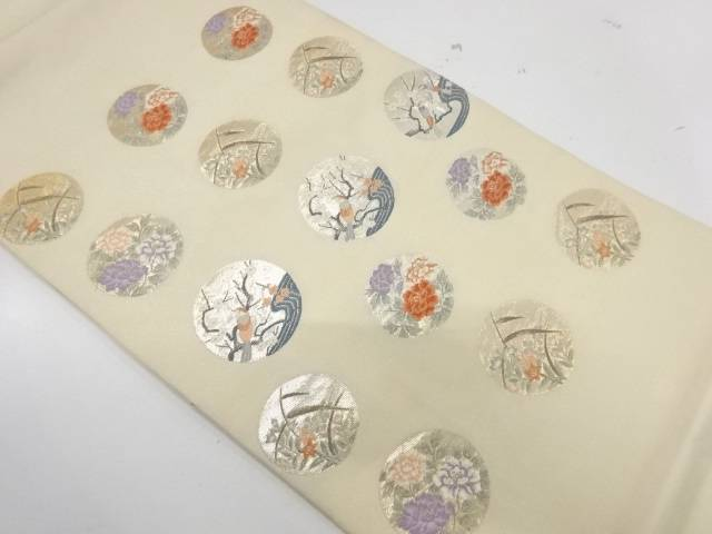 丸紋に花鳥模様織出し袋帯【リサイクル】【中古】【着】 宗sou