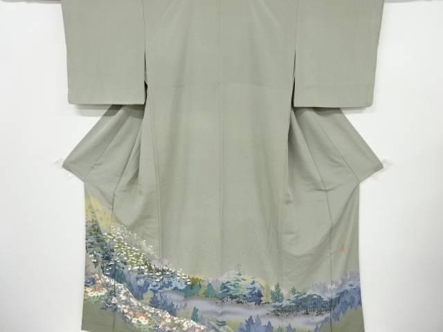 作家物 遠山に樹木風景草花模様一つ紋色留袖【リサイクル】【中古】【着】 宗sou