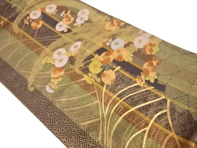 縞に波・菊模様織出し袋帯【リサイクル】【中古】【着】 宗sou