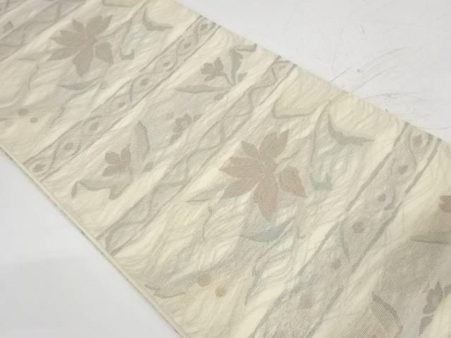 紗 横段に草花模様織出し袋帯【リサイクル】【中古】【着】 宗sou