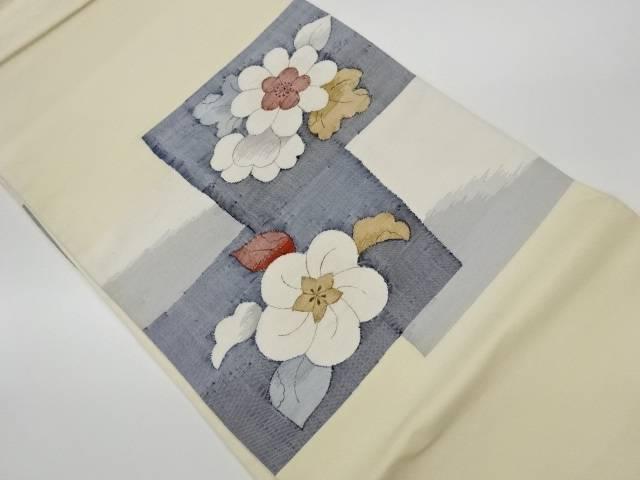 茶道具 茶道 着物 色紙に花模様織出し洒落袋帯 リサイクル 着 クリアランスsale 保証 期間限定 中古 宗sou