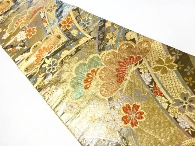 金箔松・桜模様織り出し袋帯【リサイクル】【中古】【着】 宗sou