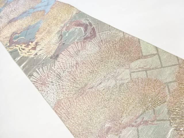 銀綴れ籠目に松模様織り出し袋帯【リサイクル】【中古】【着】 宗sou