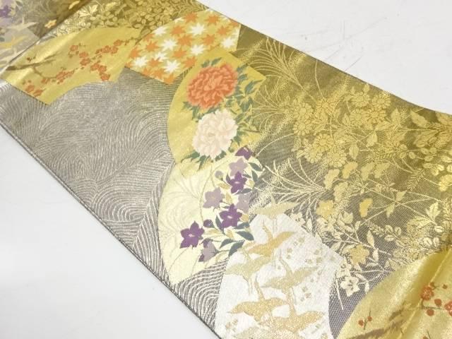 地紙に牡丹・枝梅模様織出し袋帯【リサイクル】【中古】【着】 宗sou