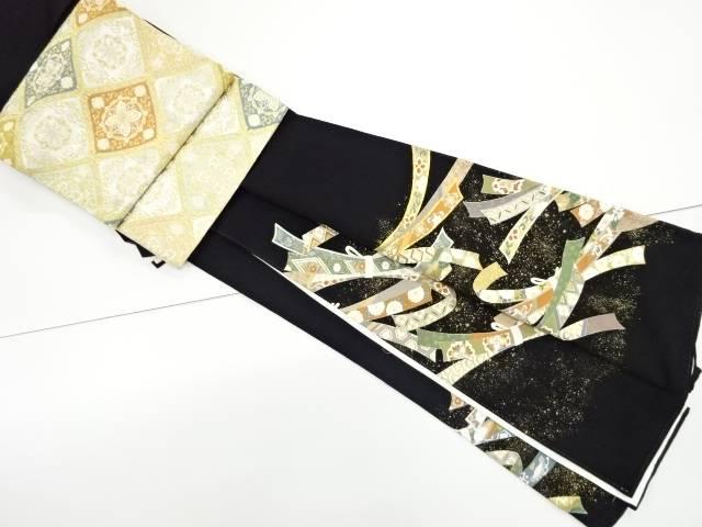 宗sou 束ね熨斗に花古典柄刺繍留袖(比翼付き)・袋帯セット【リサイクル】【中古】【着】