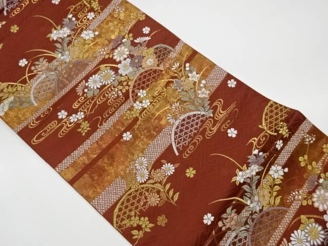 茶道具 茶道 着物 横段に秋草模様織出し袋帯 激安特価品 中古 高額売筋 宗sou リサイクル 着