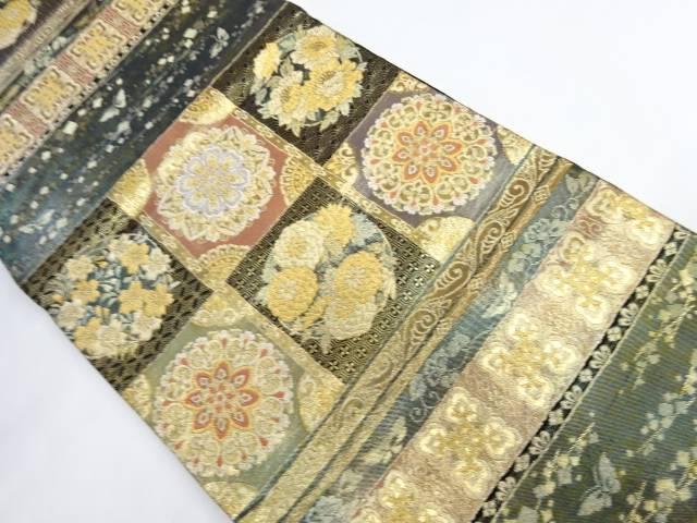 宗sou 格子に花模様織り出し袋帯【リサイクル】【中古】【着】