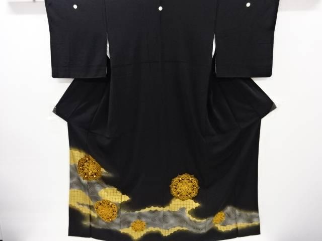 茶道具 茶道 着物 金彩波に華紋模様刺繍留袖 宗sou 着 中古 有名な 激安 激安特価 送料無料 リサイクル