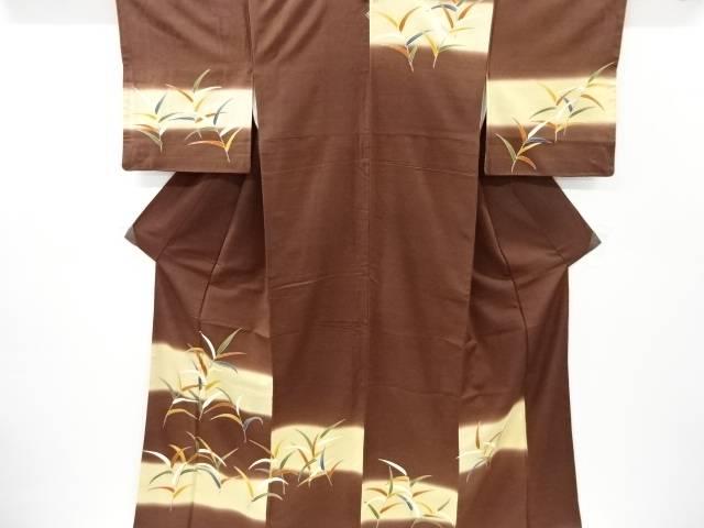 茶道具 茶道 着物 笹模様刺繍一つ紋手織り節紬訪問着 リサイクル 激安価格と即納で通信販売 宗sou 定番スタイル 中古 着