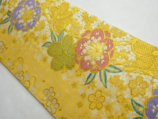 定価 茶道具 茶道 着物 流水に桜模様織り出し袋帯 高級な 宗sou 着 中古 リサイクル