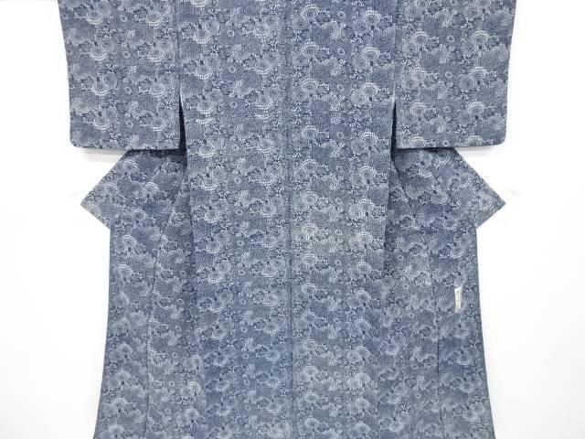 茶道具 茶道 着物 流行のアイテム 香川卓美作 縮緬地本藍型染菊模様小紋着物 買い取り リサイクル 宗sou 着 中古