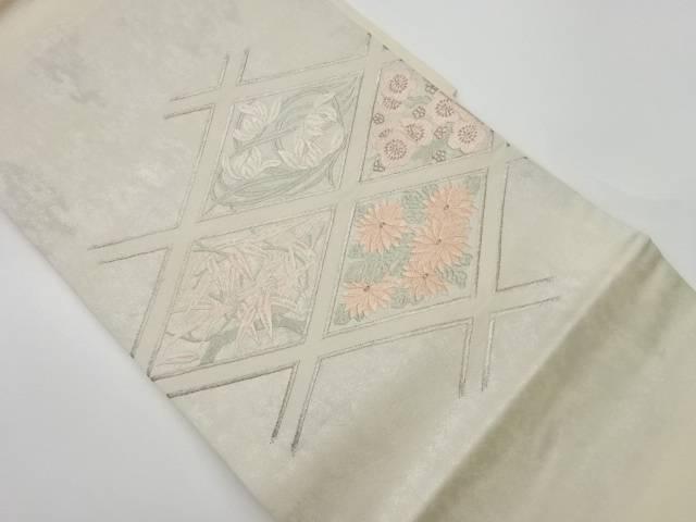 ストアー 茶道具 茶道 着物 襷に花々模様織出し名古屋帯 中古 大幅にプライスダウン 着 リサイクル 宗sou