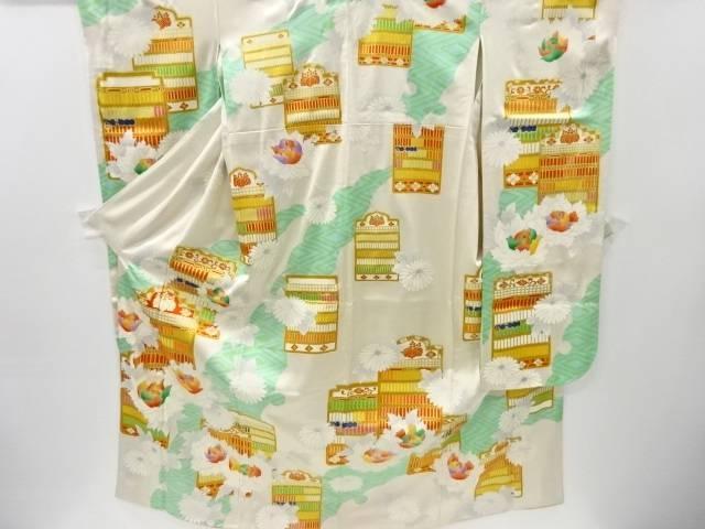茶道具 茶道 着物 衝立に牡丹 菊模様刺繍振袖 宗sou 重ね衿付き NEW ARRIVAL 中古 着 リサイクル お気にいる