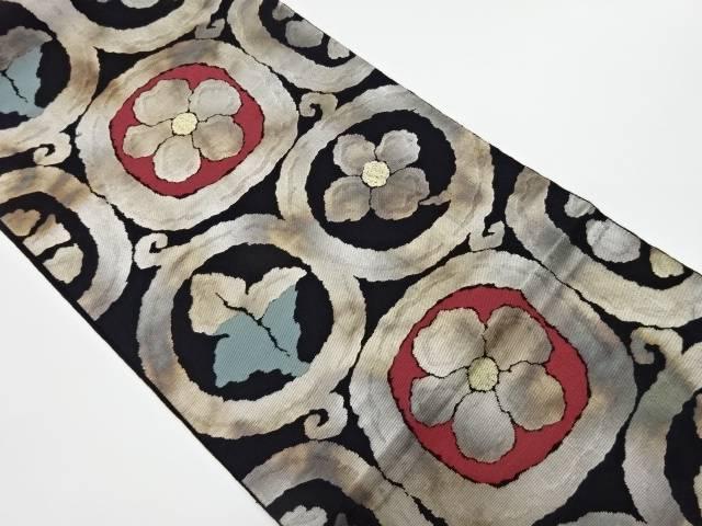 茶道具 茶道 着物 服部織物製 こはく錦丸文に花 葉模様織出し袋帯 リサイクル 美品 中古 宗sou 着 期間限定送料無料