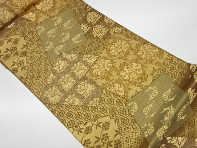 茶道具 好評受付中 大幅値下げランキング 茶道 着物 色紙に動植物模様織出し袋帯 リサイクル 中古 宗sou 着