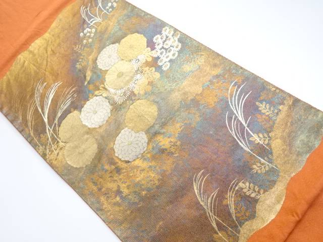 【別倉庫からの配送】 金彩 菊模様織り出し袋帯【リサイクル】【着】 宗sou, TennisHouse 83d4d442