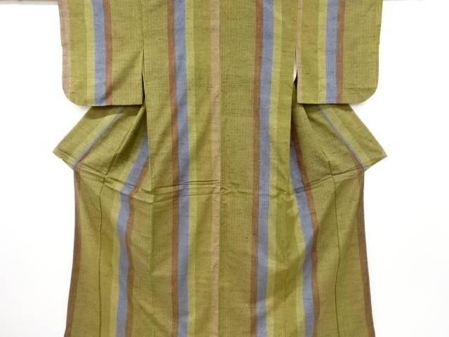 茶道具 茶道 着物 縞に抽象模様織り出し手織り節紬着物 春の新作シューズ満載 お歳暮 リサイクル 中古 宗sou 着