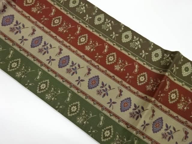 茶道具 茶道 着物 縞に花々 蝶模様織出し名古屋帯 宗sou 日本製 好評 リサイクル 着 中古