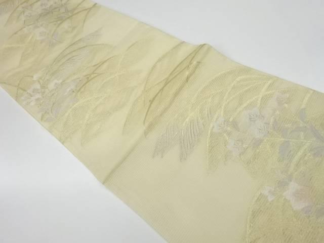 茶道具 茶道 着物 100%品質保証 絽秋草模様織出し袋帯 激安卸販売新品 リサイクル 宗sou 着 中古