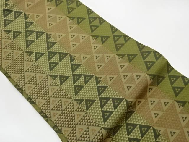 直営限定アウトレット 茶道具 売り込み 茶道 着物 縞にうろこ模様織出し名古屋帯 着 中古 宗sou リサイクル