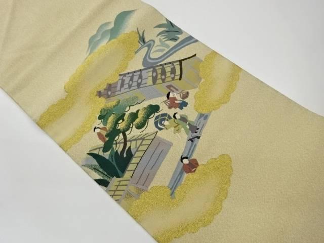 無料サンプルOK 茶道具 茶道 着物 町並み模様織出し名古屋帯 宗sou リサイクル 中古 日本製 着