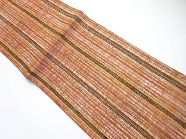 すくい織縞模様織り出し全通夏用袋帯【リサイクル】【中古】【着】 宗sou