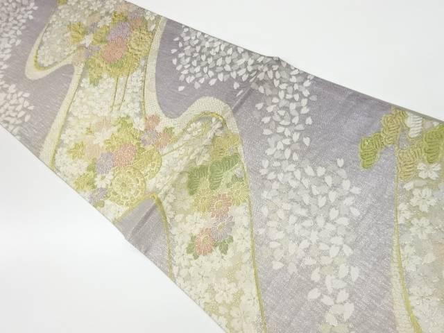 茶道具 茶道 着物 流水に花車 桜模様織出し袋帯 リサイクル 着 中古 人気海外一番 宗sou 信用