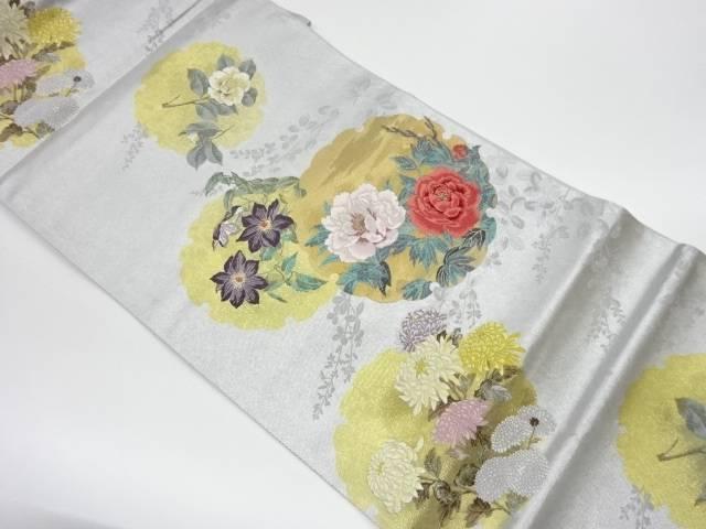 茶道具 低廉 茶道 着物 引箔雪輪に花々模様織出し袋帯 セール特価 着 リサイクル 宗sou 中古