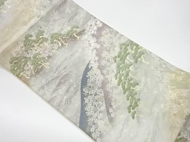 茶道具 茶道 着物 波に草花模様織出し袋帯 リサイクル 宗sou 中古 SALE開催中 着 日本正規品