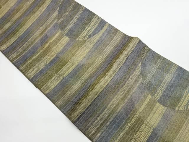 茶道具 セールSALE%OFF 茶道 着物 2020新作 横段に抽象模様織出し袋帯 中古 宗sou 着 リサイクル