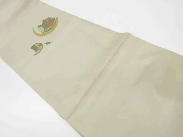 茶道具 茶道 新品未使用正規品 着物 作家物 売れ筋ランキング 月と葉模様織出し袋帯 リサイクル 中古 着 宗sou