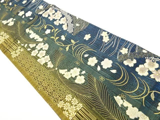 茶道具 茶道 着物 縞に桜模様織り出し袋帯 1年保証 着 リサイクル 中古 宗sou [再販ご予約限定送料無料]
