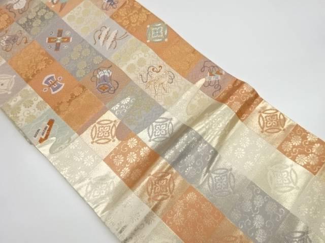 茶道具 茶道 着物 格子に宝尽くし模様織出し袋帯 着 宗sou 高品質新品 リサイクル 好評 中古