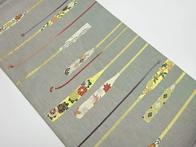 茶道具 茶道 割り引き 着物 紐に簪模様織出し袋帯 リサイクル 引出物 中古 着 宗sou