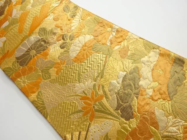 期間限定お試し価格 茶道具 茶道 いつでも送料無料 着物 扇子に花模様織り出し袋帯 中古 リサイクル 宗sou 着