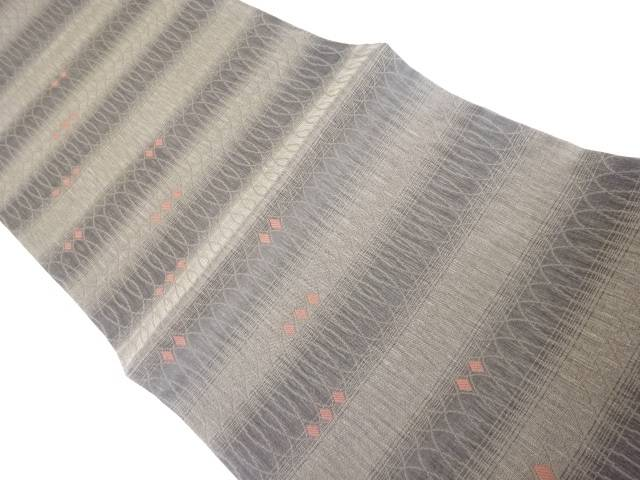 茶道具 茶道 着物 安心と信頼 抽象横段模様織り出しリバーシブル全通袋帯 着 宗sou 中古 現品 リサイクル