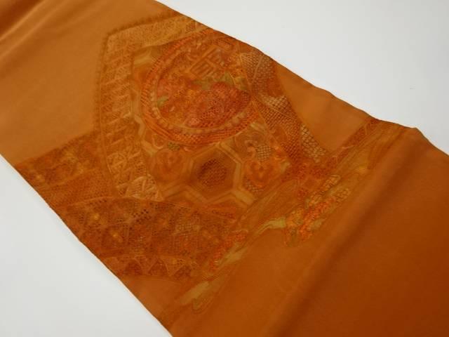 4年保証 茶道具 茶道 有名な 着物 汕頭刺繍 花模様袋帯 着 中古 リサイクル 宗sou