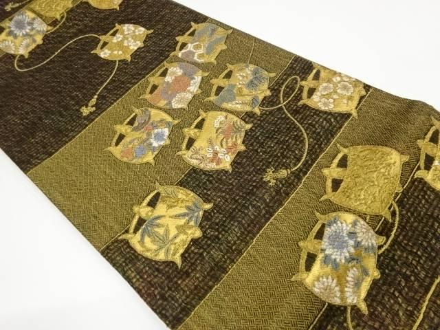 茶道具 茶道 着物 変わり横段に糸巻き模様織出し袋帯 着 宗sou リサイクル 正規激安 中古 当店一番人気