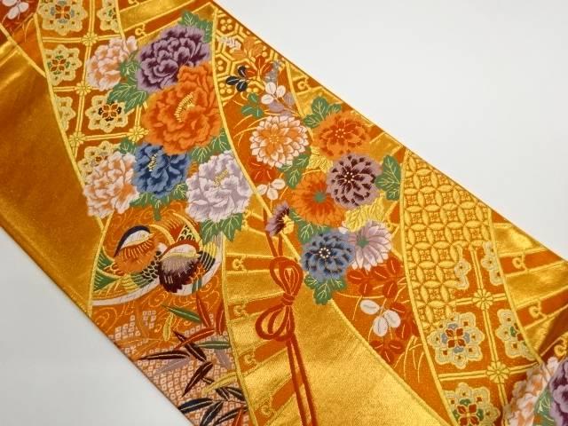 茶道具 高額売筋 茶道 着物 櫛に花鳥模様織出し袋帯 国内正規品 リサイクル 宗sou 着 中古