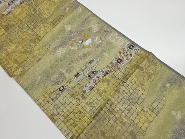 茶道具 茶道 着物 飛鳥天平文織出し袋帯 着 定価の67%OFF 宗sou 正規逆輸入品 リサイクル 中古