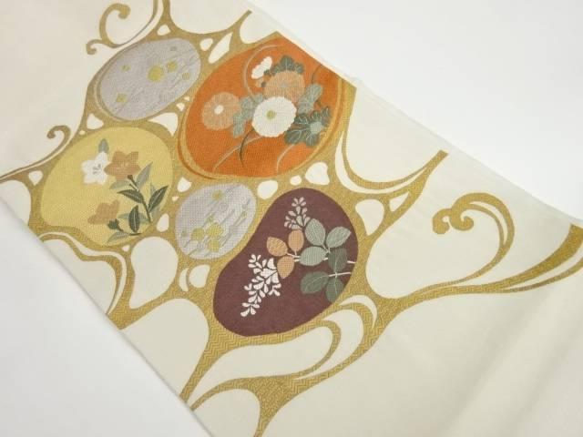 ●日本正規品● 茶道具 茶道 着物 抽象泡に花模様織出し袋帯 宗sou 着 実物 中古 リサイクル