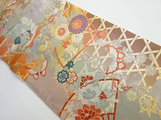 茶道具 茶道 着物 扇子 菊 牡丹 リサイクル 宗sou 有名な 中古 年間定番 蝶模様織り出し袋帯 着