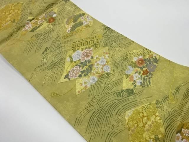 茶道具 茶道 着物 巻物に花々模様織出し袋帯 着 <セール&特集> 中古 リサイクル 宗sou 贈物