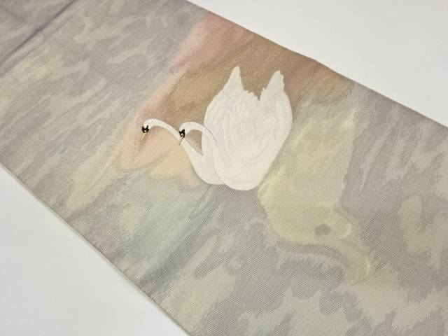 茶道具 タイムセール ストアー 茶道 着物 水面に鳥模様織出し袋帯 着 中古 宗sou リサイクル