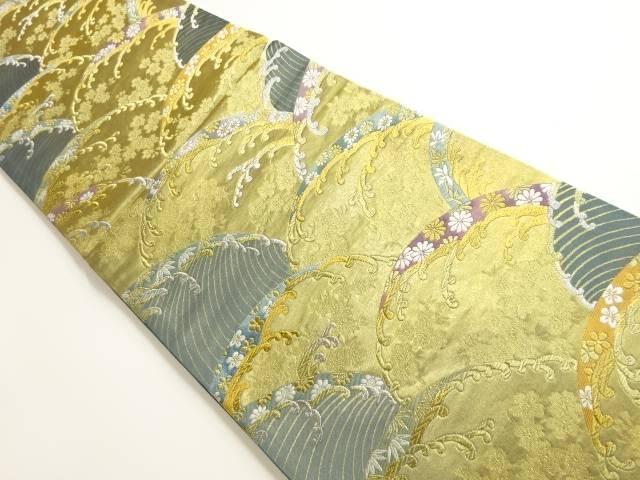 茶道具 茶道 世界の人気ブランド 着物 引箔波 波頭 入荷予定 リサイクル 宗sou 花模様織り出し袋帯 中古 着
