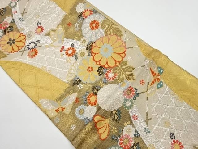 茶道具 茶道 着物 訳あり 海外輸入 花に蝶模様織出し袋帯 中古 宗sou 着 リサイクル