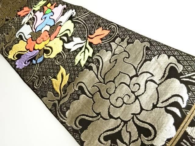 茶道具 茶道 着物 金地二重菱大牡丹錦模様織り出し袋帯 メーカー再生品 中古 宗sou リサイクル メーカー在庫限り品 着