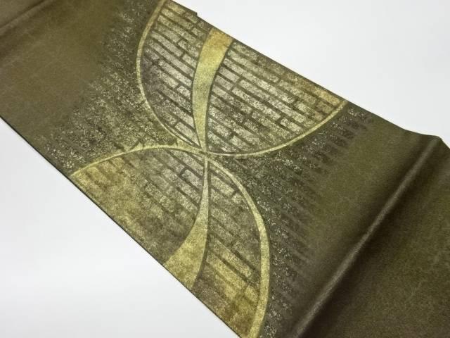 茶道具 茶道 着物 金彩抽象模様織出し袋帯 リサイクル 中古 着 宗sou OUTLET SALE 安値