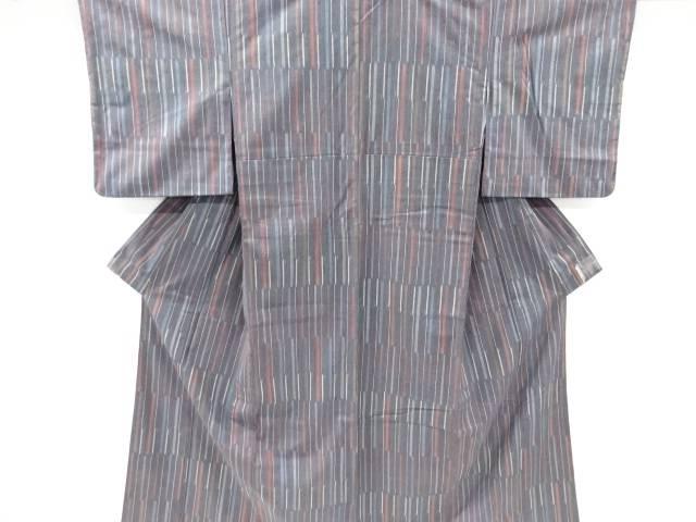 新品 送料無料 茶道具 茶道 着物 人気ブレゼント 絣縞模様織出手織り真綿紬単衣着物 リサイクル 宗sou 中古 着