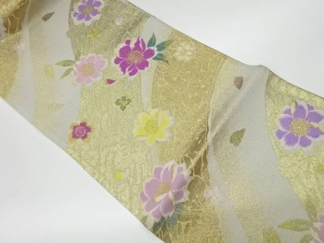 茶道具 茶道 着物 曲線に八重桜模様織出し袋帯 いつでも送料無料 売り込み リサイクル 着 中古 宗sou